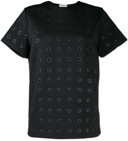 Pre-Owned eyelet detailed T-shirt