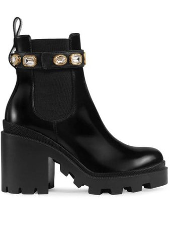 Black Gucci Leather Ankle Boot With Belt   Farfetch.com