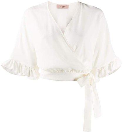 Twin Set ruffle-trimmed wrap blouse