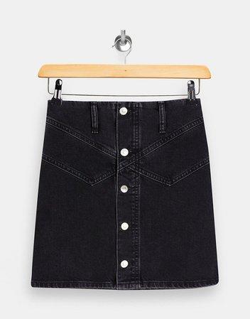 Topshop Petite button up denim skirt in washed black | ASOS