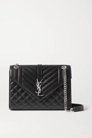 Envelope Medium Quilted Textured-leather Shoulder Bag - Black