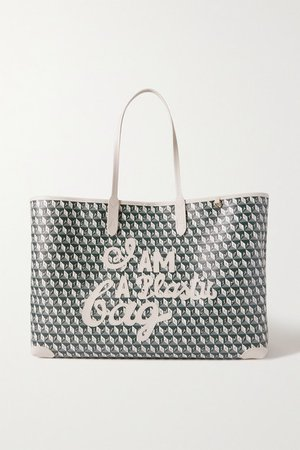 I Am A Plastic Bag Appliqued Leather-trimmed Printed Coated-canvas Tote - Navy