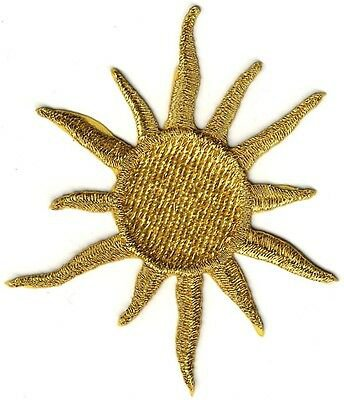 "4 1/4"" Celestial Metallic Gold Sun embroidery patch 