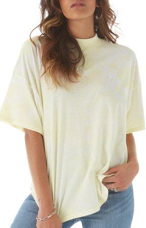 Tie Dye Mock Neck Cotton T-Shirt