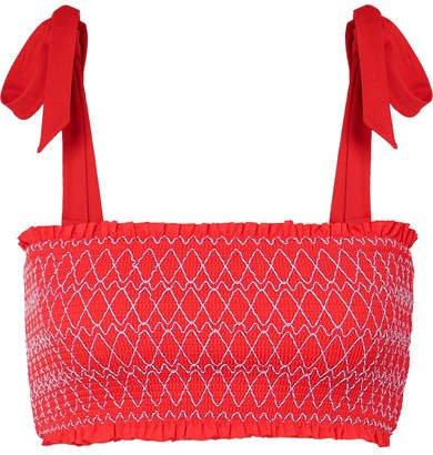 Smocked Bandeau Bikini Top - Coral