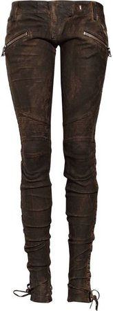 Balmain Brown Laced Leather Pants