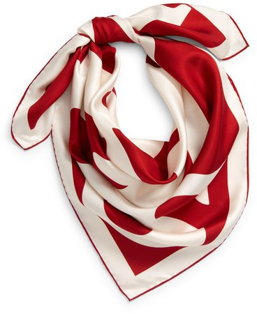 Logo Letters Square Silk Scarf