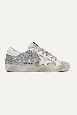 Silver Superstar distressed glittered leather sneakers | Golden Goose | NET-A-PORTER