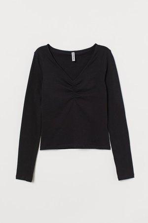 V-neck Top - Black - Ladies | H&M US