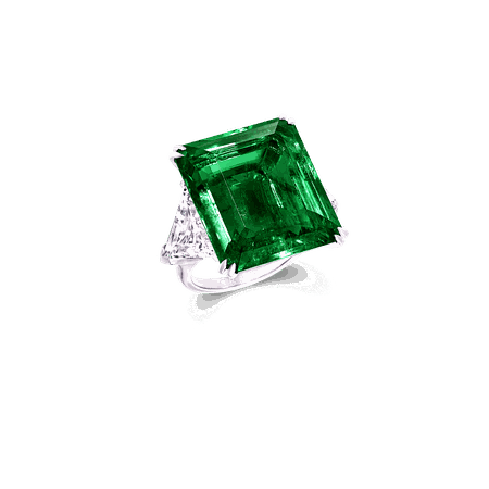 Emerald Cut Emerald and Diamond Ring   Graff