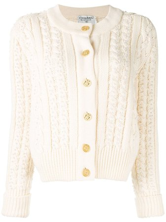 Chanel Pre-Owned CC Cable Knit Cardigan - Farfetch