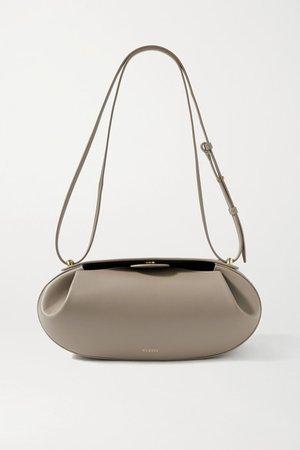 Baguette Leather Shoulder Bag - Beige