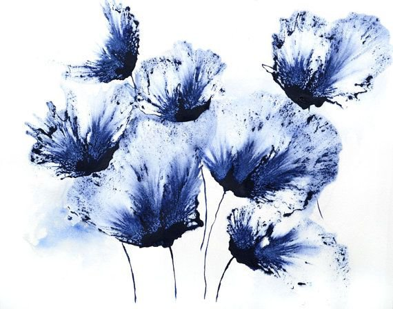 blue flowers watercolors - Google Search