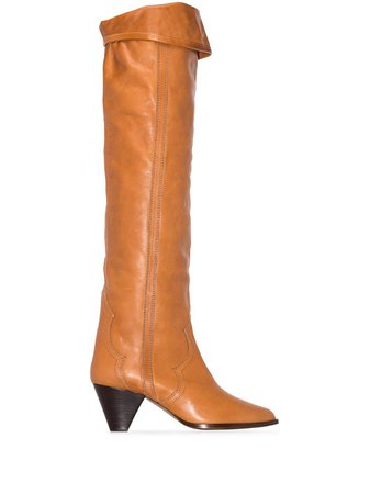 Isabel Marant Brown Remko 40 over-the-knee Leather Western Boots - Farfetch