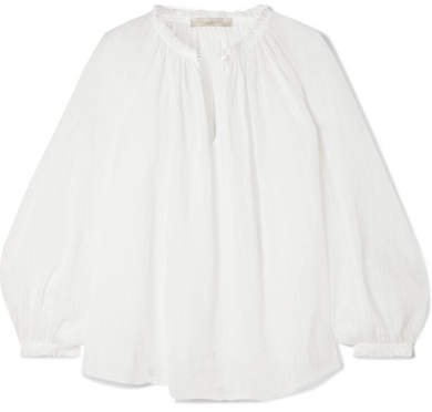 Leore Ruffled Embroidered Cotton-voile Blouse - Ivory