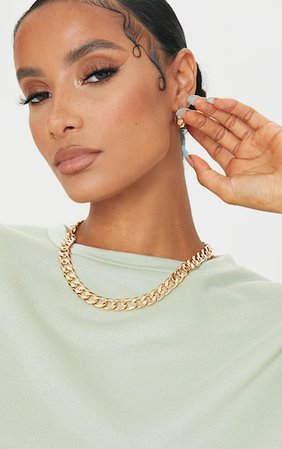 Gold Thick Chunky Chain Necklace   PrettyLittleThing