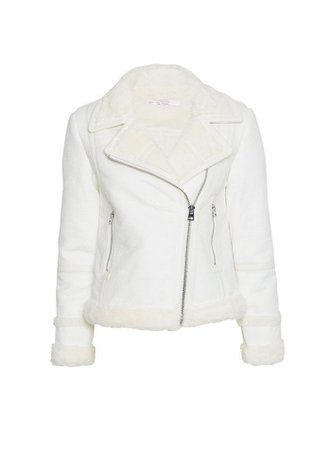 PETITE White PU Aviator Jacket | Miss Selfridge