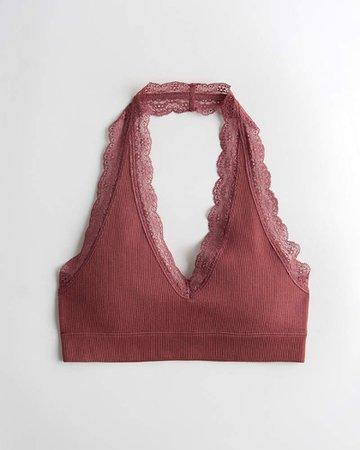 Girls Gilly Hicks Lace-Trim Seamless Halter Bralette | Girls New Arrivals | HollisterCo.com Pink