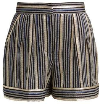 High Rise Striped Shorts - Womens - Navy Multi