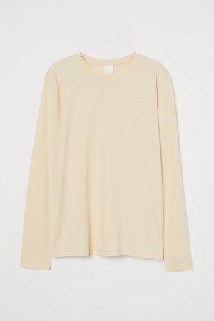 Long-sleeved Jersey Top - Beige