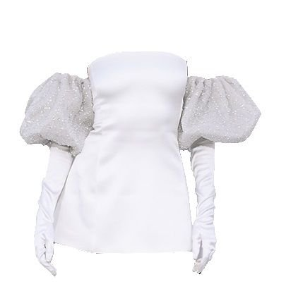 white dress with gloves png