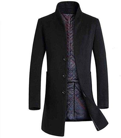 Men's Business Slim Plus Cotton Warm Stand Collar Woolen Coat (US XX-Large=China XXX-Large, Black) at Amazon Men's Clothing store:
