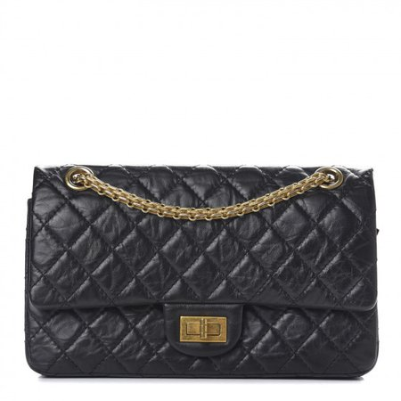 CHANEL Aged Calfskin Quilted 2.55 Reissue 225 Flap Black 579758