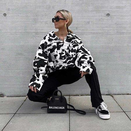 New veste femme gothic harajuku cow pattern loose short jacket safari jackets women