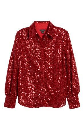 Halogen® x Atlantic-Pacific Bishop Sleeve Sequin Shirt (Nordstrom Exclusive) | Nordstrom