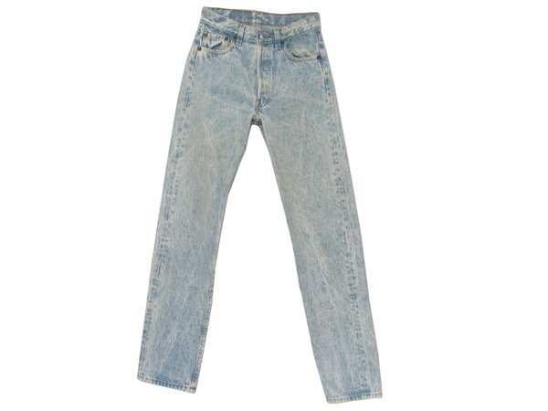Levis 501 1980s Vintage Pants: 80s -Levis 501- Mens shaded blue acid wash totally 80s cotton high waist stone wash jeans with button fly, five pockets and straight leg cut.