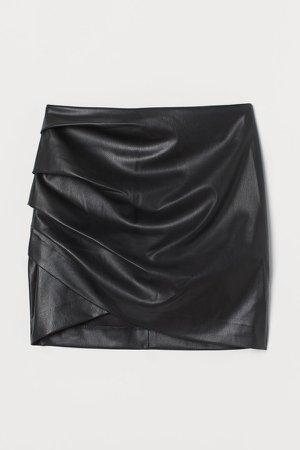 Draped Mini Skirt - Black