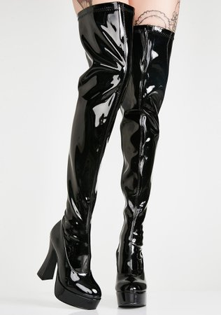 *clipped by @luci-her* Patent Thigh High Platform Boots   Dolls Kill