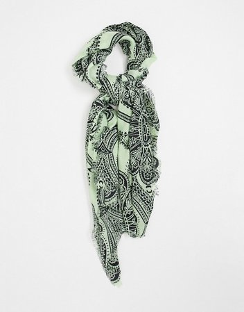 ASOS DESIGN lightweight scarf with raw edge in paisley print | ASOS