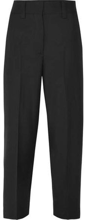 Cropped Wool And Mohair-blend Pants - Black