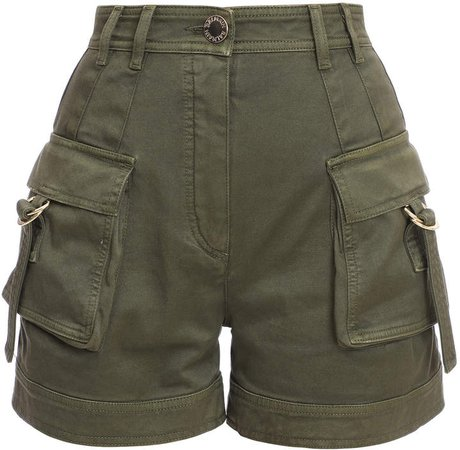 Stretch-Cotton High-Rise Cargo Shorts