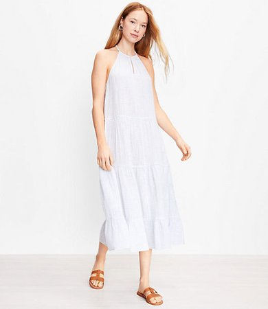 Beach Tiered Halter Midi Dress