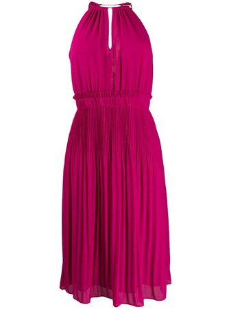 Michael Kors Collection Pleated Halterneck Midi Dress