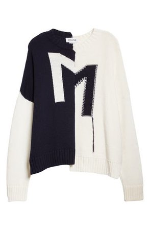 Monse Colorblock Logo Oversize Merino Wool Sweater | Nordstrom