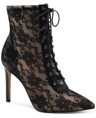 Black INC International Concepts INC Women's Indira Lace-Up Booties, Created for Macy's & Reviews - Boots - Shoes - Macy's