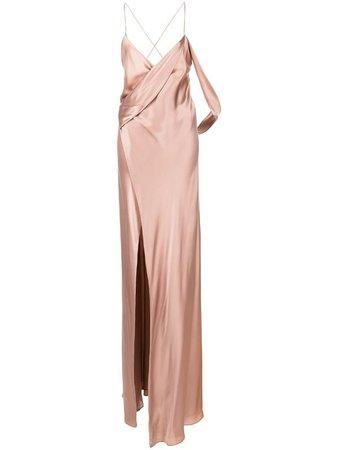 Michelle Mason silk wrap floor-length gown - FARFETCH