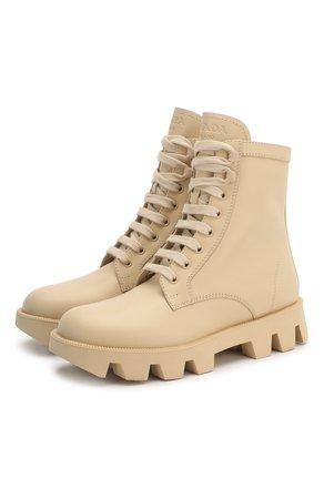 Женские бежевые кожаные ботинки PRADA — купить за 58500 руб. в интернет-магазине ЦУМ, арт. 1T012M-3L1P-F0482-45