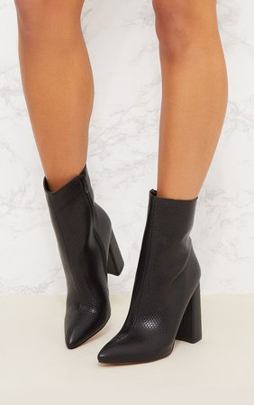 Black High Point Ankle Boot   Shoes   PrettyLittleThing