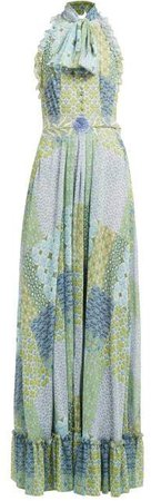 Floral And Tile Print Tie Neck Gown - Womens - Green Multi