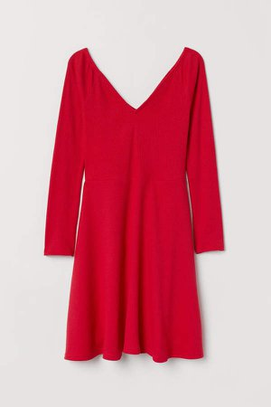 Off-the-shoulder Dress - Red