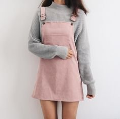 $55 Super Cute Pale Pastel Pink Corduroy Dunagree Pinafore Dress With Over-Sized Cream And Black Striped Turtleneck Sweater | Patrones ropa in 2018 | Pinterest…