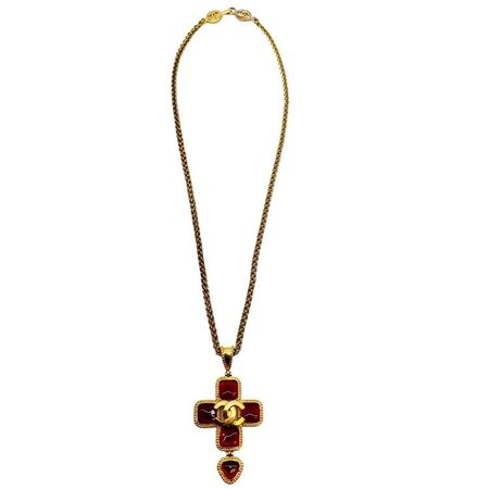 Chanel Red & Gold Cross Necklace