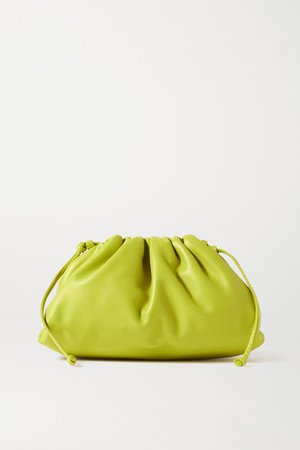 The Pouch Small Gathered Leather Clutch - Green