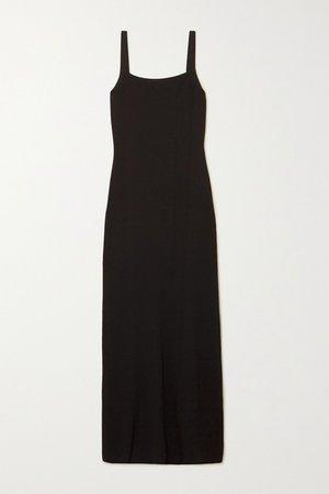 Black Open-back stretch-knit maxi dress | Matteau | NET-A-PORTER