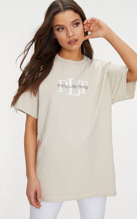 PRETTYLITTLETHING Sand Oversized Slogan T Shirt   PrettyLittleThing