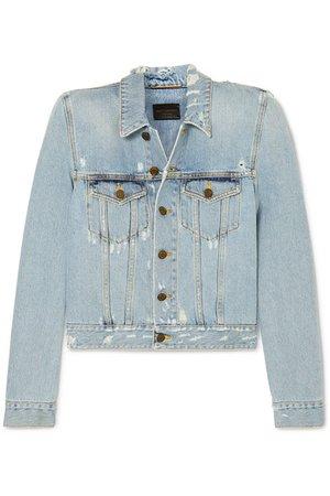 SAINT LAURENT | Cropped distressed denim jacket | NET-A-PORTER.COM